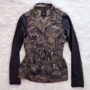 H&M Camo Adjustable Biker Jacket W/ Studs | Small